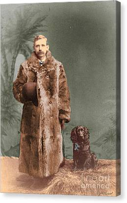 Vintage Man And Spaniel Dog Canvas Print by Lyric Lucas