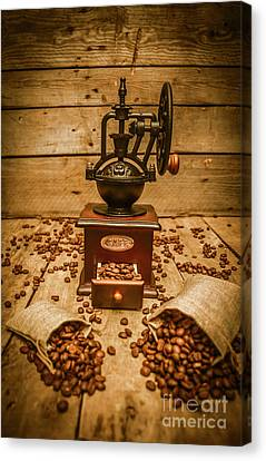 Vintage Manual Grinder And Coffee Beans Canvas Print