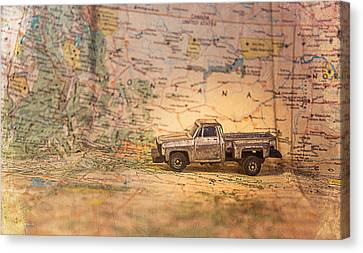 Vintage Map And Truck Canvas Print by Mary Hone