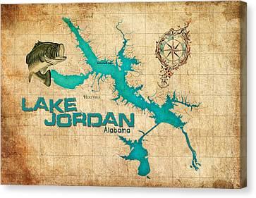 Vintage Map - Lake Jordan Al Canvas Print by Greg Sharpe
