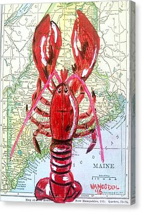 Vintage Map Maine Red Lobster Canvas Print