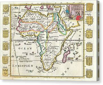 Vintage Map Of Africa - 1710 Canvas Print by CartographyAssociates