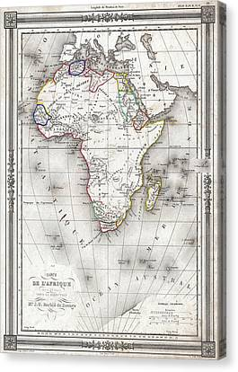 Vintage Map Of Africa - 1852 Canvas Print by CartographyAssociates