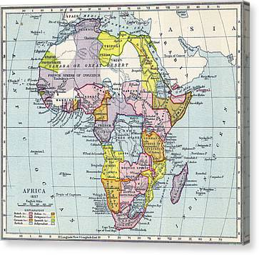Vintage Map Of Africa - 1897 Canvas Print by CartographyAssociates