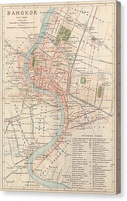 Vintage Map Of Bangkok, Thailand From 1920 Canvas Print