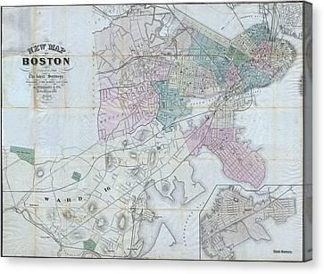 Vintage Map Of Boston Massachusetts - 1870 Canvas Print by CartographyAssociates