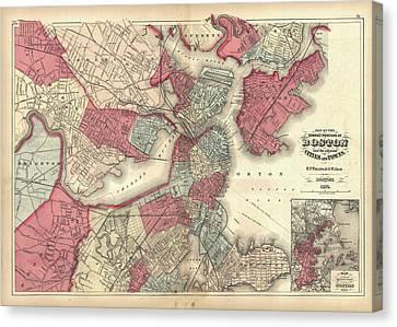 Vintage Map Of Boston Massachusetts - 1871 Canvas Print by CartographyAssociates