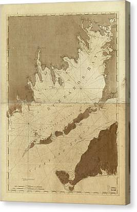 Vintage Map Of Buzzards Bay - 1776 Canvas Print by CartographyAssociates