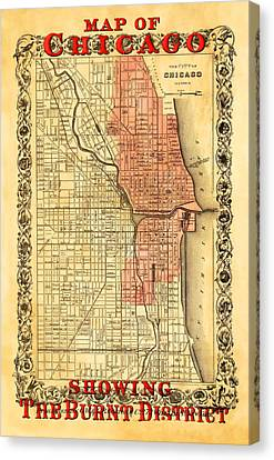 Vintage Map Of Chicago Fire Canvas Print