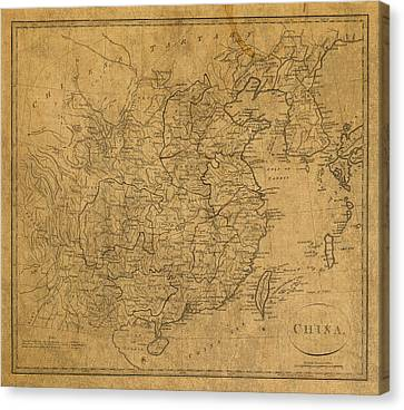 Vintage Map Of China 1799 Canvas Print by Design Turnpike