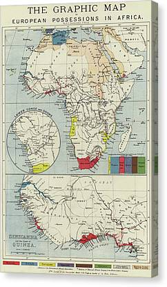 Vintage Map Of European Possessions In Africa Canvas Print by English School