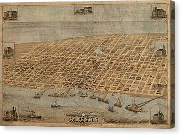 Vintage Map Of Galveston Texas 1871 Birds Eye Street View  Canvas Print by Design Turnpike