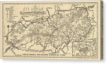 Vintage Map Of Great Smoky Mountains National Park From 1941 Canvas Print by Blue Monocle