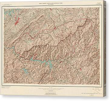 Vintage Map Of Great Smoky Mountains National Park - Usgs Topographic Map - 1949 Canvas Print by Blue Monocle
