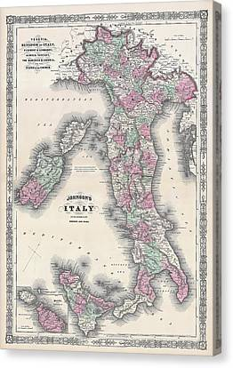 Vintage Map Of Italy Canvas Print