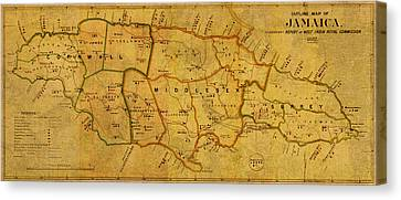 Vintage Map Of Jamaica From 1882 On Worn Parchment Canvas Print by Design Turnpike