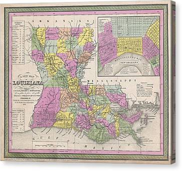 Vintage Map Of Louisiana Canvas Print