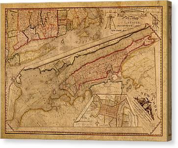 Vintage Map Of Manhattan Island 1821 Antique On Worn Canvas  Canvas Print by Design Turnpike