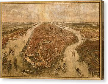 Vintage Map Of Manhattan New York City Nyc Birds Eye View Schematic Circa 1865 On Worn Distressed Canvas Canvas Print by Design Turnpike