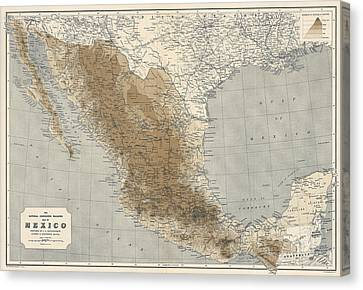 Vintage Map Of Mexico - 1911 - National Geographic Canvas Print