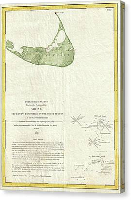 Vintage Map Of Nantucket Massachusetts - 1846 Canvas Print by CartographyAssociates