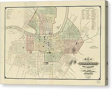 Vintage Map Of Nashville Tennessee - 1877 Canvas Print