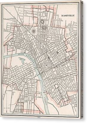 Vintage Map Of Nashville Tennessee - 1901 Canvas Print