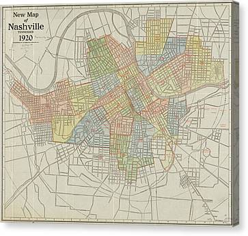 Vintage Map Of Nashville Tennessee - 1920 Canvas Print