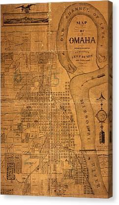 Vintage Map Of Omaha Nebraska 1878 Canvas Print by Design Turnpike