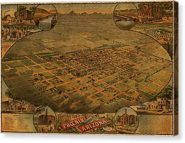 Vintage Map Of Phoenix Arizona Aerial View Topographical Illustration Artwork On Distressed Canvas Canvas Print by Design Turnpike