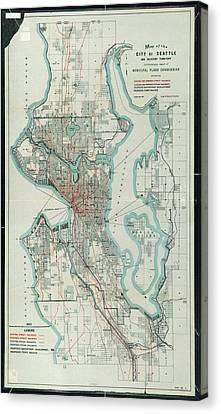 Vintage Map Of Seattle Washington - 1911 Canvas Print