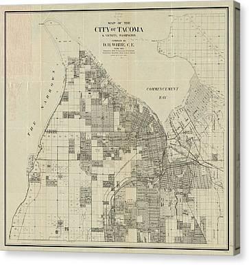 Vintage Map Of Tacoma Washington - 1907 Canvas Print