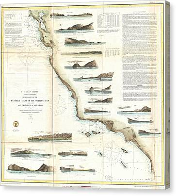 Old Map Of California Canvas Prints Page Of Fine Art America - Us west map