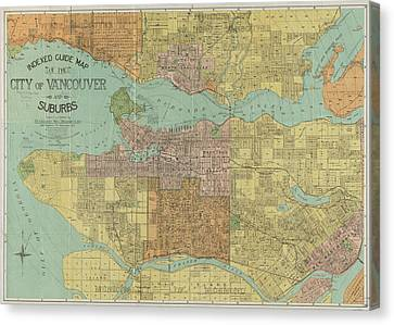 Vancouver Canvas Print - Vintage Map Of Vancouver Canada - 1920 by CartographyAssociates