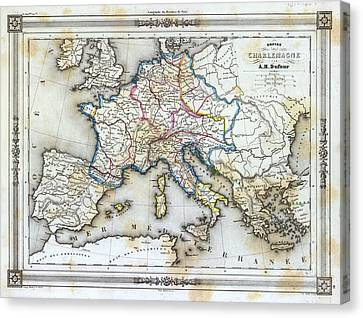 Vintage Map Of Western Europe Canvas Print by Gillham Studios