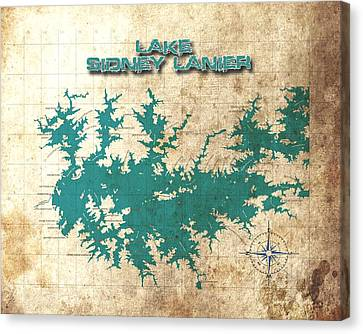 Vintage Map - Sidney Lanier Ga Canvas Print by Greg Sharpe