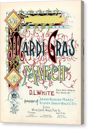 Vintage Mardi Gras March Poster Canvas Print by Jon Neidert