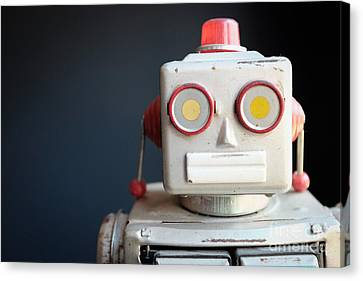Vintage Mechanical Robot Toy Canvas Print by Edward Fielding