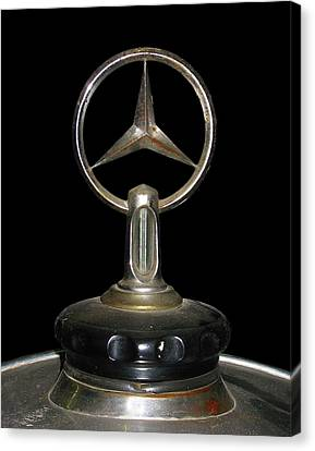 Canvas Print featuring the photograph Vintage Mercedes Radiator Cap by David and Carol Kelly