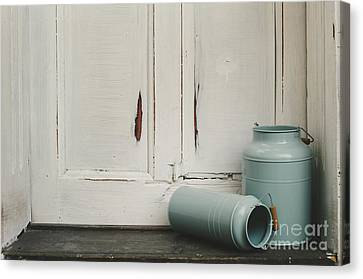 Vintage Milk Canisters. Canvas Print