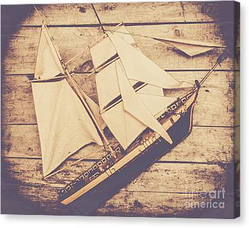 Toy Boat Canvas Print - Vintage Mini Ship On Wooden Background by Jorgo Photography - Wall Art Gallery