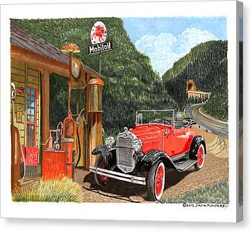 Vintage Mobilgas Station  Canvas Print