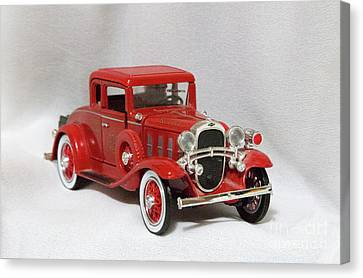 Canvas Print featuring the photograph Vintage Model Fire Chiefcar by Linda Phelps