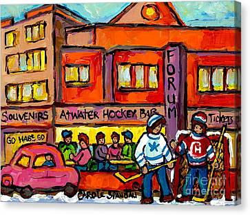 57 Chevy Canvas Print - Vintage Montreal Forum Winter Scene With Outdoor Street Hockey Game Canadian Painting For Sale  by Carole Spandau