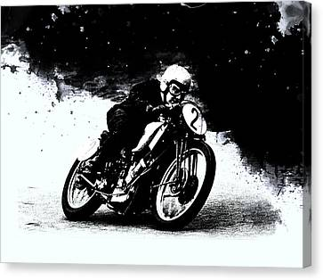 Bmw Racing Classic Bmw Canvas Print - Vintage Motorcycle Racer by Mark Rogan