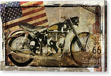 Vintage Motorcycle Road Demon Canvas Print by Mindy Sommers