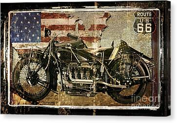 Vintage Motorcycle Unbound Canvas Print by Mindy Sommers
