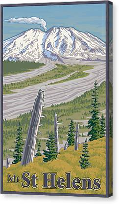 Vintage Mount St. Helens Travel Poster Canvas Print by Mitch Frey