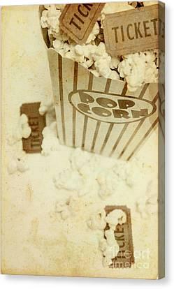 Vintage Movie Tickets And Popcorn Canvas Print