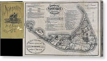 Vintage Nantucket Map Canvas Print by CartographyAssociates
